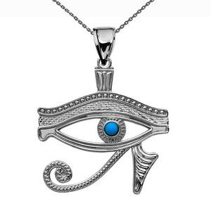 Sterling Silver Eye of Horus Turquoise Necklace